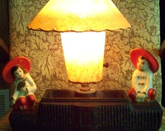 Vintage Asian Oriental TV Lamp 2 Figures Fiberglass Shades Ceramic  Chalkware 1950u0027s