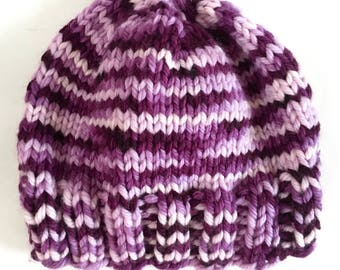 Hat, Hand Knit, from Hand Dyed Yarn, Beanie, Superwash Merino Wool, Ribbed, Loganberry Hat