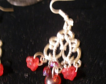 Casbah earrings, silver, red beads, flowers - dancing  Valentine  - etsyBead, OlympiaEtsy, WWWG, FunkyAlternativeJewelry, SupportingArtists