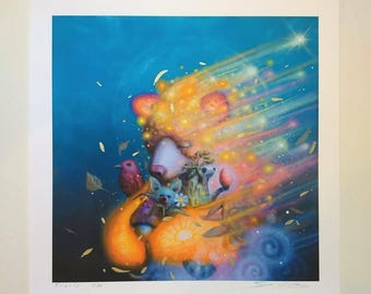 "Embellished Fine Art Print 12"" x 12"" print - bear - surrealism"