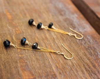 Black and Gold Earrings, Gemstone Earrings, Gold fill Earrings