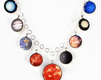 Solar System Outer Space Planet Necklace Antique Silver Jewelry - Large - Gift Idea