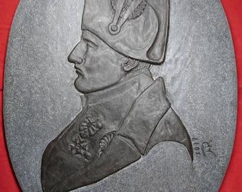 Stone Profile Bas-Relief Portrait of Napoleon Bonaparte