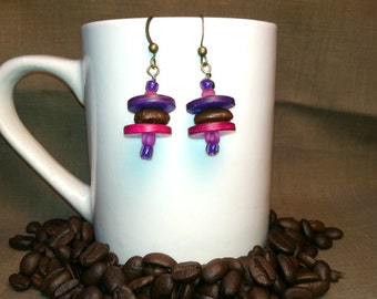 Coffee Bean Earrings - Thinking of Piglet - Authentic Fair Trade Coffee Bean Earrings...FREE U.S. SHIPPING