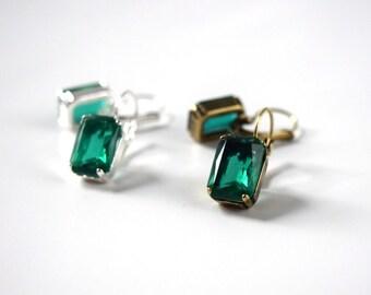 Green Crystal Earrings, Emerald Rhinestone Earring, Georgian Paste Glass Earring, Regency Jewelry, 18th Century Earring, Reenactor Jewelry