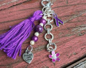 fibromyalgia awareness, planner tassel, planner charm, bag charm, purse charm, stitch marker, planner tassel charm, travel journal charm