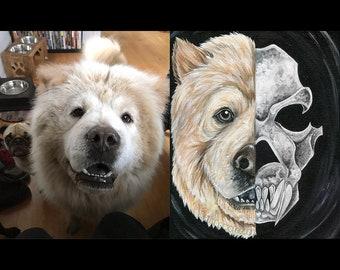 Custom Pet Portrait 8x10, Skull Painting, Gothic Decor, Dog Art, Cat Artwork, Acrylics on Canvas, Original Art