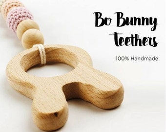 Bo Bunny Wooden Teether. Teething Toy.