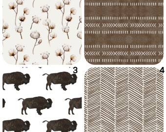 Crib bedding and covers, Bumbo Covers, Boppy Covers, Crib Sheets, Halo Bassinet Sheet, Dock A Tot, Tribal crib sheet, Buffalo crib sheet
