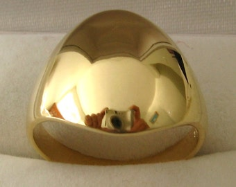 Genuine SOLID 9ct YELLOW GOLD Wide Dome Ring