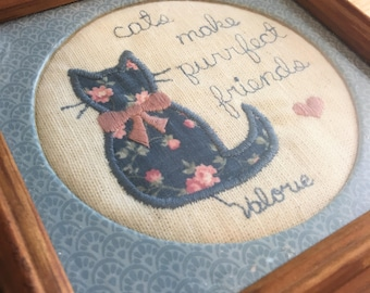 Cat Stitched Artwork in Frame / Cat Cross Stitch Art / Framed Stitching Art / Cat Lover / Cat Sewing Picture / Cat Lady Gift / Cat Picture