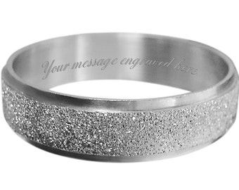 Men's engraved personalised ring size L M N O P Q R S T U V W + gift box -ref UD