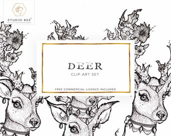 Deer Clipart, Deer Illustration, Flower Clipart, Flower Illustration, Female Deer Art, Vintage Art, Antler Clipart, Rustic Clipart,