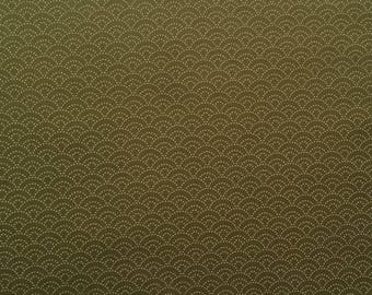 Japanese Kasuri - Sevenberry - traditional pattern waves grey green fabric - by 50 cm (110 x)