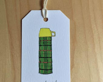 Thermos Drawing - warmest wishes - set of 6 mini gift tags - Rachelink hand drawn cards