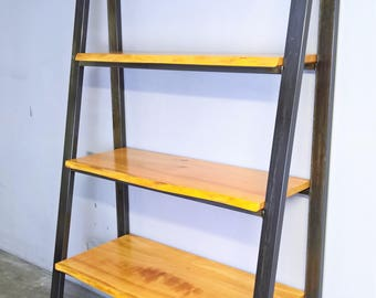 Industrial shelf, wood & steel