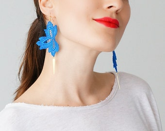 Mom Gift Blue Earrings Statement Earrings Lace Earrings Boho Earrings Long Earrings Leaf Earrings Fashion Earrings Gift For Her Gift/ CLAERA
