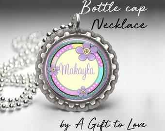 Personalized Bottle Cap Necklace - Purple Flowers -  Party Favor - Child Gift -  Birthday Gift