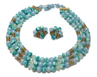 Vintage Pale Blue Beaded Necklace and Earrings Set