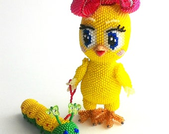 "Pattern / Tutorial Beaded Ornament - Master class for creating ""Chicken Little"""