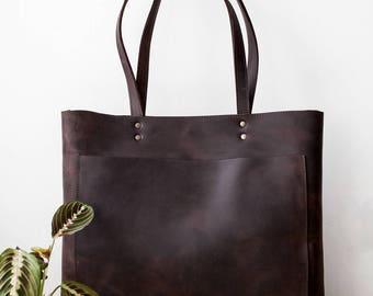 Large Rustic Dark Brown Leather Tote, Genuine Leather Bag,  Brown Leather Bag, Front Pocket Bag, Handmade Bag, Travel Bag, Oversized Bag