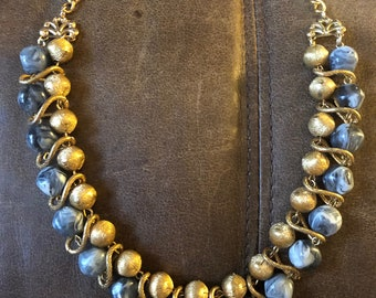 Vintage 1960s Gold Tone and Milky Blue Stone/Bead Choker Necklace