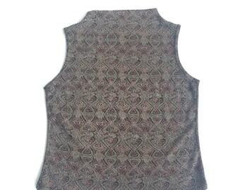 90's  high neckline mock collar sleeveless top