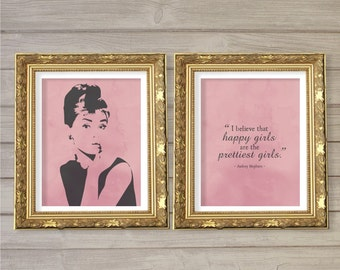 Happy Girls are the Prettiest - Audrey Hepburn Quote - 8x10 - Instant Download, Home, Room Decor, Digital Printable Poster, Print, Wall Art