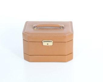 Vintage • Tan Leather Jewelry Box • My Jewels Title, Velvet Interior • travelling Jewelry Box • Jewellery Storage • Trinket Box