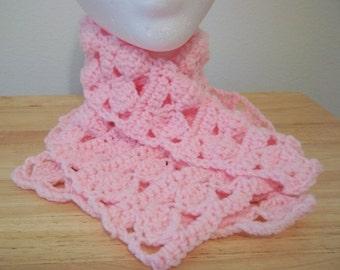 Neckwarmer - Crochet Neckwarmer - Made of Acrylic Yarn in Pink
