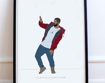 "Drake minimalist poster print- ""You use'ta call me on my cellphone"". Hotline Bling inspired fan art, Dancing Drake"