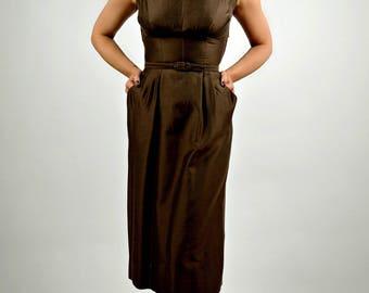 Vintage Suit, Suit Dress, 1950's Wiggle Dress, Matching Coat, Pencil Dress, Professional Clothing Women, Spring Suit, 50s Suit Women, Size S