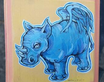 Rhinoceros Painting - Winged Blue Rhino - original graphic art on wood