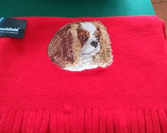 Embroidered Cavalier King Charles Spaniel, Soft Fleece Scarf