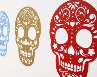 Day of the Dead  Candy Skull / Mandala Halloween Vinyl Wall Art Decals/Stickers - Various Colours