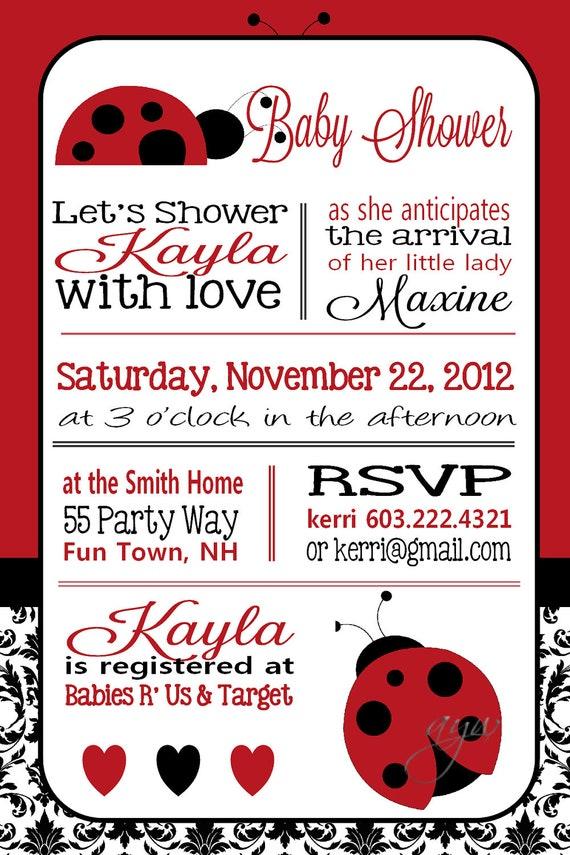 Ladybug Baby Shower Invitation Girl Invitation Ladybug