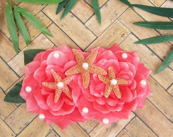 Coral Starfish Mermaid Hair Clip, Pinup Hair Flower, Coral Starfish Hair Clip, Mermaid Hair Flower