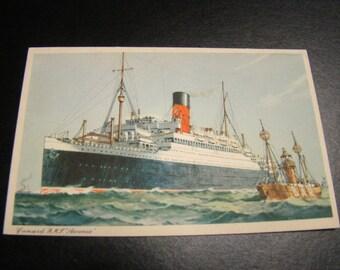 Postcard Vintage Cunard R.M.L. Ascania Ship Made in England Unused