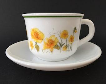 Vintage Arcopal France 'Yellow Poppy' Tea Cup & Saucer