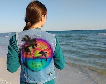 Classic Airbrush Dolphin Sunset Throwback Denim Vest