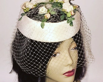 Vintage 1950s White Pillbox Halo Hat with White Veil and Flowers Wedding Bride Spring Womens Mid Century Style