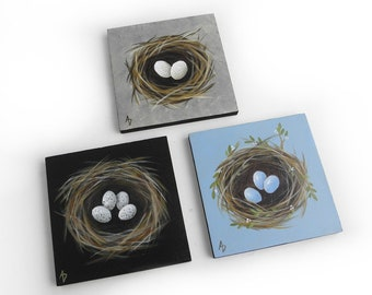 Bird nest painting - spring bird's nest with eggs - miniature art - mini painting with easel - eggs in a nest artwork original