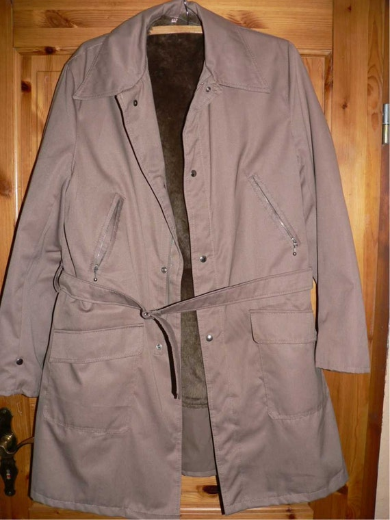 Vintage 1960s men's winter coat with fake fur EU 56/58 UvfOqr