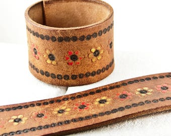 Tooled Leather Jewelry Cuff Made From Vintage Belt Southwest