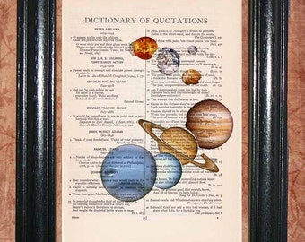 Planets - Vintage Dictionary Page Art Beautiful Upcycled Book Page Art Wall Decor Art Print