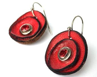 Petite Red Poppy Flower Leather Earrings, Women, Teen Girl, Eco-Friendly Reclaimed Leather Dangle Drop Earrings, Unique, OOAK