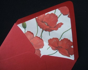 4 Bar Poppy Lined Envelopes (Set of 10)