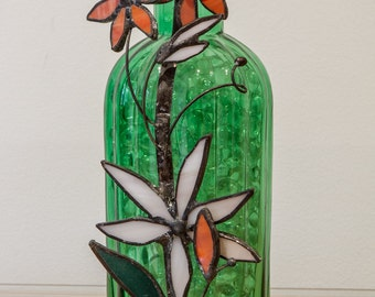 Bottle vase green with stained glass flowers