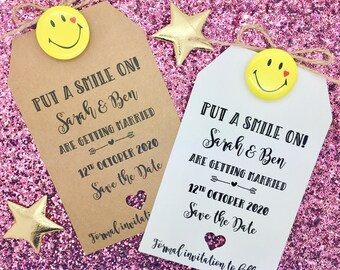 Save The Date Card Wedding Invitation With A Smiley Face Badge, Rustic