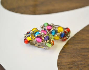1980s Bright Bead Cluster Hoop Clip Earrings